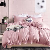 Wholesale elegant full bedding sets resale online - Romantic Pink Bedding Set Elegant Ruffles Edge Duvet Cover Set Bed Linen Quilt Cover Twin Queen King Wedding Gift