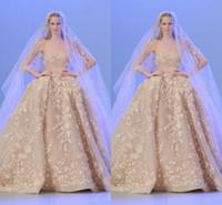 ingrosso elise saab abiti da sposa-Abiti da sposa di lusso Elie Saab 2020 Ball Gown abiti 3D Appliques perline con abito da sposa collo collo Plus Size Abito da sposa