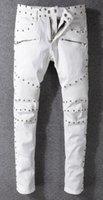 ingrosso jeans uomini di stile punk-BA L MAIN primavera calda e autunno tendenza street europea e americana nuovo rivetto stile punk jeans da uomo bianchi pantaloni slim locomotiva