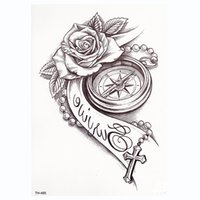 tatuajes de rosa sexy al por mayor-Rose Clock Body Art A Prueba de agua Temporal Tatoo Sexy Muslo Brazo Tatuajes Rose para mujer Flash Tattoo Stickers