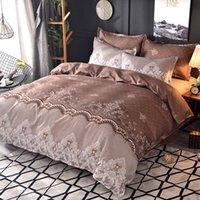 dantel yorgan örtüsü toptan satış-Nevresim seti 3adet yumuşak rahat baskılı dantel şekil baskılı yorgan örtüsü set set yataklar kraliçe kral mevcut