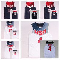 f2e191655112 Dream Team Eleven 2014 US Basketball Jerseys James Harden 13 Kyrie Irving  10 4 Stephen Curry Navy Blue White America Uniform National