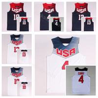 camisas da marinha venda por atacado-Dream Team Onze 2014 EUA Basquete Jerseys James Harden 13 Kyrie Irving 10 4 Stephen Caril Azul Marinho Branco América Uniforme Nacional