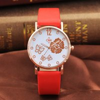 Wholesale girls fashion luxury watches for sale - Group buy Girl Luxury Watch Women New Fashion Embossed Flowers Small Fresh Printed Belt Dial Watch Female Student Quartz Watch