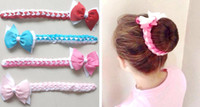 Wholesale bow clip head band resale online - 20pcs Updo hair Bun wraps bows clips Head Wrap gingham Hair band Headbands for girl women Hair Extensions Full Snood Accessories PD020