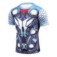 neue cosplay männlich großhandel-Thor 3D Gedruckt T shirts Männer Compression Shirt Neue Cosplay Kurzarm Männlichen Crossfit Fitness Bodybuilding Mann Basis Tops T