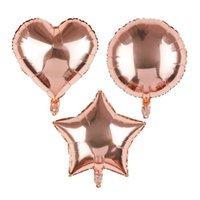 coração em forma de balões de folha venda por atacado-18 polegadas Rose Gold Star Color hélio Foil decoração da festa de casamento de aniversário do balão Suprimentos Coração-forma do balão do bebê Duche