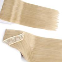 ingrosso biondo estensione dei capelli sintetici diritti-ZXTRESS 24 pollici 5 clip capelli sintetici lunghi capelli biondi diritti nelle estensioni dei capelli capelli castani neri per le donne