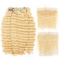 kaliteli bakire saç uzatmaları toptan satış-En Kaliteli 613 Sarışın 3 Bundle Saç Dantel Frontal ile 13 * 4 inç Malezya Bakire Derin Curl Bal Sarışın İnsan Saç Uzantıları