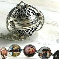 Wholesale best hot photos for sale - Group buy Fashion Album Box Necklaces Magic Photo Pendant Memory Floating Locket Necklace for women kids best gifts