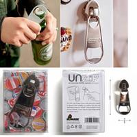 Wholesale ship shaped magnets resale online - Creative zipper shape opener bottle with magnetic fridge magnet kitchen tools beer bottle opener silver