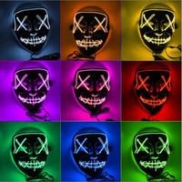 led ışıklı parti malzemeleri toptan satış-Cadılar Bayramı Festivali Cosplay Kostüm Koyu DHL yılında Glow Malzemeleri Tahliye Seçim Yıl Büyük Komik Maskeler LED Işık Up Parti Maskeler Maske