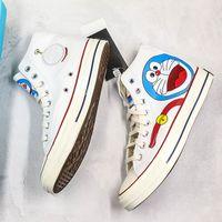 Wholesale doraemon cute cartoon for sale - Group buy Cute DORAEMON X Convase s Canvas Shoes Cartoon White Blue High Limited Casual Sneakers Fashion Designers Shoes