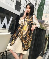 lenço de bandana venda por atacado-NOVA Bandana Floral Impresso lenços de seda Mulheres Outono Inverno Boho Praia Xaile Meninas Senhoras Elegantes Casuais Longo Envoltório Macio Cachecol