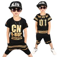 coole sportanzüge großhandel-Kinder Trainingsanzüge 4-12y Jungen Kleidung Enfant Tshirt + Harem Hose Mode Junge Kleidung Coole Kinder Hip Hop Kleidung Sport Anzug J190511