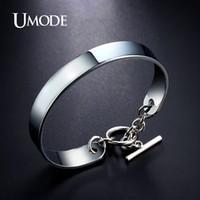 Wholesale umode bracelets resale online - UMODE Brand New Cuff Bracelet For Women Jewelrey Popular White Gold Color Pulseira Bracelets Bangles Christmas Gifts AUB0096B