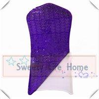 stoff stuhl abdeckung lila großhandel-New Desgin 50pcs Lila glänzende Pailletten Stoff mit Spandexstuhl Haube Kapuze für Hochzeit Bankett
