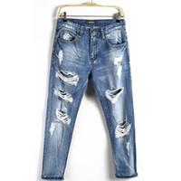 buraco voador venda por atacado-2019 High Street Mens Designer Jeans Vintage Verão de Moda de Nova rasgado Buraco Jeans Zipper Fly Mid cintura Grande Plus Size