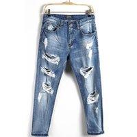 büyük boy tasarımcı kot toptan satış-2019 High Street Mens Tasarımcısı Vintage Jeans Yaz Yeni Moda Ripped Delik Jeans Fermuar Fly Orta Bel Büyük Artı boyutu