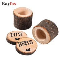 Wholesale rustic gifts resale online - 2PC Valentines Engagement Wooden Ring Bearer Box Jewelry Boxes HIS SHES Rustic Gift Box Mr Mrs Ring Holder Wedding Supplies