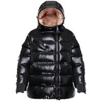 flocou para baixo casaco venda por atacado-2019 Nova Moda Jaquetas New Down Jacket Collar Ao Ar Livre Para Baixo Casaco Com Zíper Preto Letras Reunindo Mulheres Casacos de Inverno Parka Plus Size 0-3