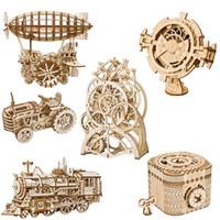 conjunto de engranajes al por mayor-Regalos de los niños 3D Rompecabezas de madera mecánica Asamblea del engranaje impulsor del Modelo Juguetes Plano Feliz Ronda Noria Pencil Box Juguetes para niños juguetes de Navidad 04