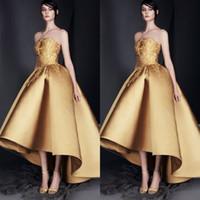 lo broderie achat en gros de-Robes de soirée en or robes de bal 2019 Salut-Lo Modest Dubaï robe de bal arabe arabe robe de soirée robe de broderie sur mesure