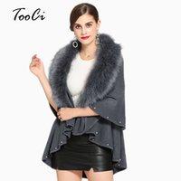ponchos negros para mujer al por mayor-Elegante 2018 Otoño Negro Faux Fur Coat Poncho y Capas de Piel de Cachemira de Piel de Mujer Sentirse Suéter cardigan