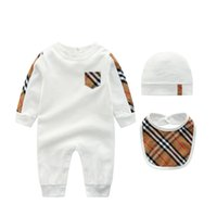Wholesale unisex baby clothes online - baby clothes romper Hot sell Spring fall baby kids climbing romper high quality cotton long sleeve Plaid collar spring autumn romper hat