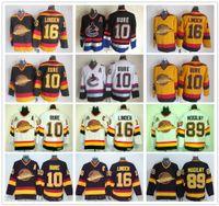 hockey jersey pavel großhandel-Vintage CCM Vancouver Canucks Eishockey 10 Pavel Bure Jersey 89 Alexander Mogilny 16 Trevor Linden genähtes Schwarz Gelb Jersey