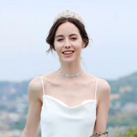 coroas redondas para noivas venda por atacado-2019 europeus e americanos de moda senhoras retro noiva rodada bolo coroa diamante headband vestido de noiva tiara acessórios para o cabelo frete grátis