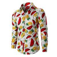 fruchtdruck männer großhandel-Hip Hop Obst Muster Mann Shirt Langarm männlich Party Bluse Umlegekragen Tops lustige Früchte Print Shirts Boy 3XL Slim BLusa