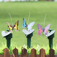 Wholesale hummingbird toys resale online - Solar Power Dancing Flying Butterflies Fluttering Vibration Fly Hummingbird Flying Birds Garden Yard Decoration Funny Toys DBC BH2928