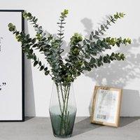 зеленый бонсай оптовых-Искусственные растения Мягкие пластиковые Эвкалипт Зеленые растения Home Decor Поддельный цветок листья Свадебные украшения Моделирование Бонсай