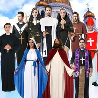Wholesale sisters clothing set resale online - Christ Jesus Priest Costume Halloween Cosplay Jesus Christ Missionary Clothing Solid Color Wizard Robes Maria Nun Sister Costume Set