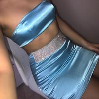 vestido azul de duas partes bodycon venda por atacado-Sexy Two Piece Saia Set Diamante Splice Azul De Cetim De Seda Bodycon Vestido Terno Clube Outfits Verão Conjuntos de Combinação