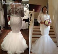Wholesale white black appliques wedding dress online - New African Mermaid Wedding Dresses Long Sleeves Jewel Neck Lace Appliques Beaded Sheer Floor Length Sheer Back Custom Bridal Gowns