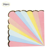 Wholesale golden papers resale online - 8pcs Rainbow Striped Golden Edge Disposable Tableware Party Paper Plates Baby Shower Birthday Party Supplies Paper Cups