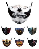 kafatası maskeleri toptan satış-Washable Skull Joker Face Mask with Filter Digital Printing Mask Adult Respirator Halloween pumpkin skull Protection Cotton Mask