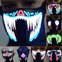 sesli uyarı aydınlatma toptan satış-20 Stiller Müzik M485 Maske aktive Cadılar Bayramı Partisi Kostüm Dekorasyon Voice Light Up Yanıp sönen Luminous Maske Yüz LED Parlayan Maskesi LED