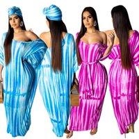vestido maxi batwing venda por atacado-2019 África mulheres fora do ombro batwing metade do comprimento da manga listras tie tingido praia maxi maxi dress vintage vestidos de 2 cores