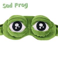 kurbağa peluş toptan satış-2019 yeni 1pc Yetişkin Çocuk Sad Kurbağa 3D Göz Çocuk Kostümleri Aksesuar Parti Hediyesi için Yumuşak Sleeping Komik Cosplay Peluş Oyuncak Maske