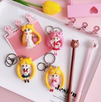 ingrosso lanterna portachiavi-Cartoon Sailor Moon Keychain Bag Pendente Car Key Lantern Carino Acqua Ghiaccio Luna regalo di compleanno femminile creativo