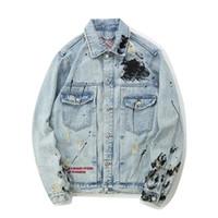 nakış ışıkları toptan satış-Moda Açık Mavi Erkek Denim Ceketler Mektup Nakış Splashed Kırık Jean Ceket Ücretsiz Kargo Sokak Tarzı Kıyafetler
