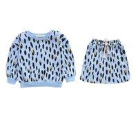 kleinkind t-shirt druck großhandel-Neue Frühling Herbst Leopardenmuster Baby Mädchen Anzüge Mädchen Outfits Kinder Designer Kleidung Mädchen T Shirts + Röcke Casual Kleinkind Mädchen Kleidung A6679