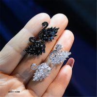 kuğu şekli toptan satış-Sıcak Satış Sparkle Swarovski Kristal Eleman Swan Şekilli Düğün S925 gümüş iğne Moda Takı Damızlık brincos Küpe Womens Için