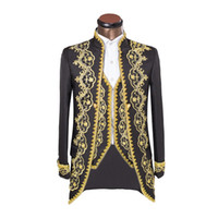 ingrosso giacche da uomo con cerniera-HB068 (giacca + pantaloni + gilet) design maschile abiti paillettes ricamato strass host maschile abito da sposa cantante uomo ballerino costume