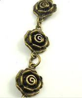 enlaces de bronce flor al por mayor-Encantos de la flor del bronce del rosa de la vendimia para el collar pulsera enlace cadena 90 cm hallazgos de la joyería DIY accesorios hechos a mano Z1308