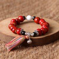 cerámica redonda roja al por mayor-Gorgeous Women Bracelet Red Beaded Red Green Ceramic Girlfriend Bracelet Regalos únicos Forest Bohemian Bracelet For Her