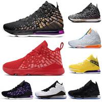 erkek ayakkabıları boyutu 13 toptan satış-Toptan lebronjamesLBJ 17 17s erkekler basketbol ayakkabıları Üniversite Kırmızı gelecekteki hava Atletik erkek eğitmenler spor ayakkabı boyutu 40-46